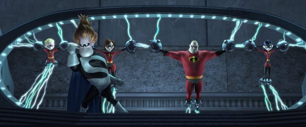 Syndrome, Mr. Incredible, Elastigirl, Violet, Dash, The Incredibles, The Incredibles vs. Incredibles 2